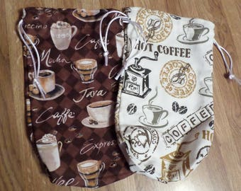 Coffee Themed Tarot Bags (Holds Large Tarot Decks, Oracle Cards, Runes, Crystals, etc.)