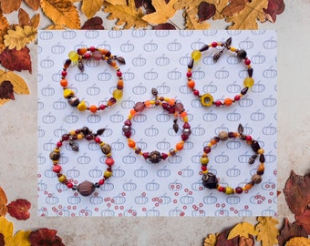 Autumn Bracelets with Pinecone and Leaf Charms - Fall Bracelets that Fits Most Wrists - Autumn Jewelry - Fall Fashion