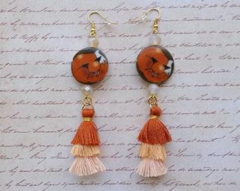 Fox Earrings with Orange Tassels