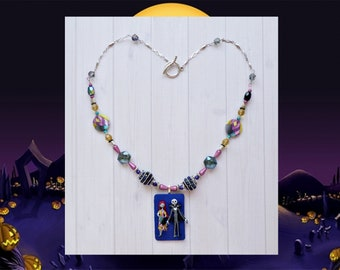 Nightmare Before Christmas Jack and Sally Necklace - Jack Skellington Halloween Necklace - Jack and Sally Costume and Cosplay