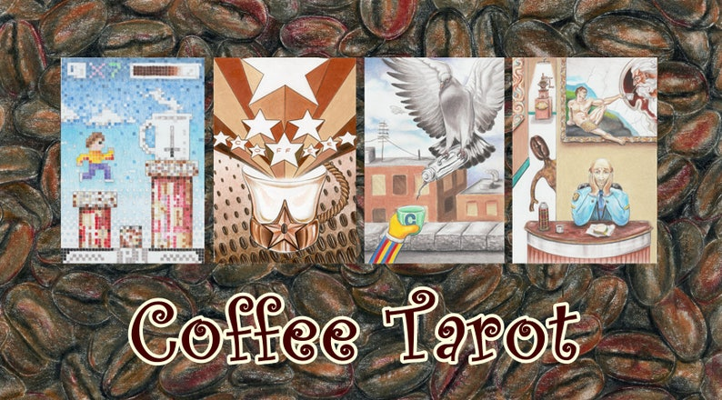 Coffee Tarot with Handmade Tarot Bag image 0