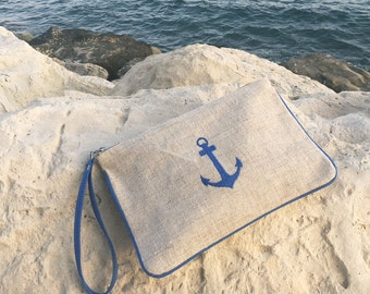 Waterproof Wristlet Clutch. Canvas Wristlet. Make-Up Pouch. Travel Cosmetic Bag. Canvas Beach Pouch