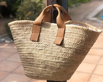 Woven Raffia Tote - Straw Bag - Leather Straw Bag - Large Tote Bag - Leather Top Handles