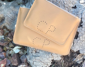 Monogram Pouch Set. Personalised Leather Pouches. Custom Gift Set. Custom Clutch. Personalized Womens Gifts. Travel Essential Pouches.