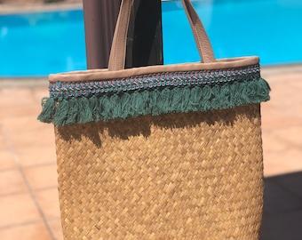 Straw Tote Bag. Leather Basket Tote Bag. Straw Beach Bag. Basket Bag. Raffia Tote
