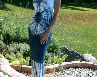 Women's Navy Blue Tie Dyed Print Dress, Maxi Summer Dress, Bohemian Maxi Dress. Loungewear and Beachwear.