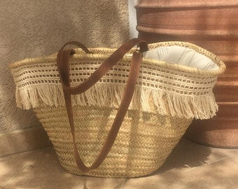 Leather Straw Fringe Bag - Straw Fringe Bags - Straw Tote -  Moroccan Baskets - Leather Straw Bag - Large Tote Bag - Leather Raffia Tote