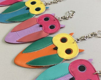 Owl Keyrings - Childrens Party Gifts - Colourful Owls - Owl Lover - Birthday Gifts - Party Favor - Kids Gifts - Animal Keyring