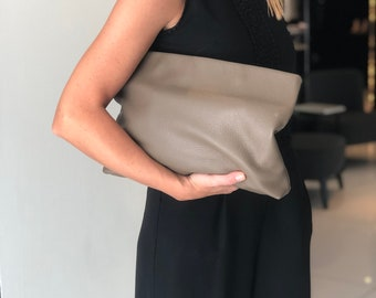 Large Leather Clutch. Versatile Leather Bag. Large Leather Pouch Bag. Oversize Clutch
