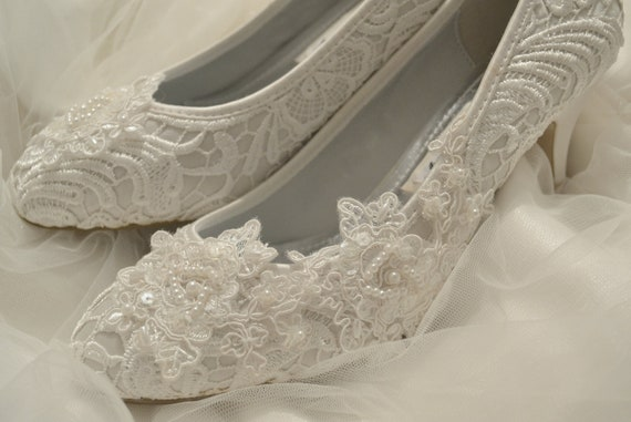 d1d32f7484df DARIA ivory lace bridal wedding shoes with pearls and sequins
