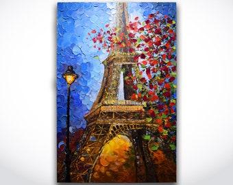 Eiffel Tower Painting ORIGINAL Abstract Art Eiffel Tower Landscape Paris Blossom Tree Texture Oil Painting Art 24x36 Canvas by Alex Rusu
