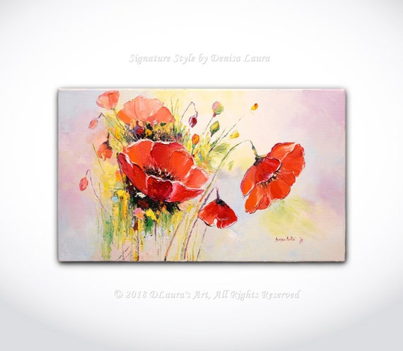 Coquelicots Rouges Couteau Abstrait Peinture Fine Art Brillant Peinture à L Huile Fleur De Coquelicot Sur Toile 20 X 12 Par Denisa Lauras