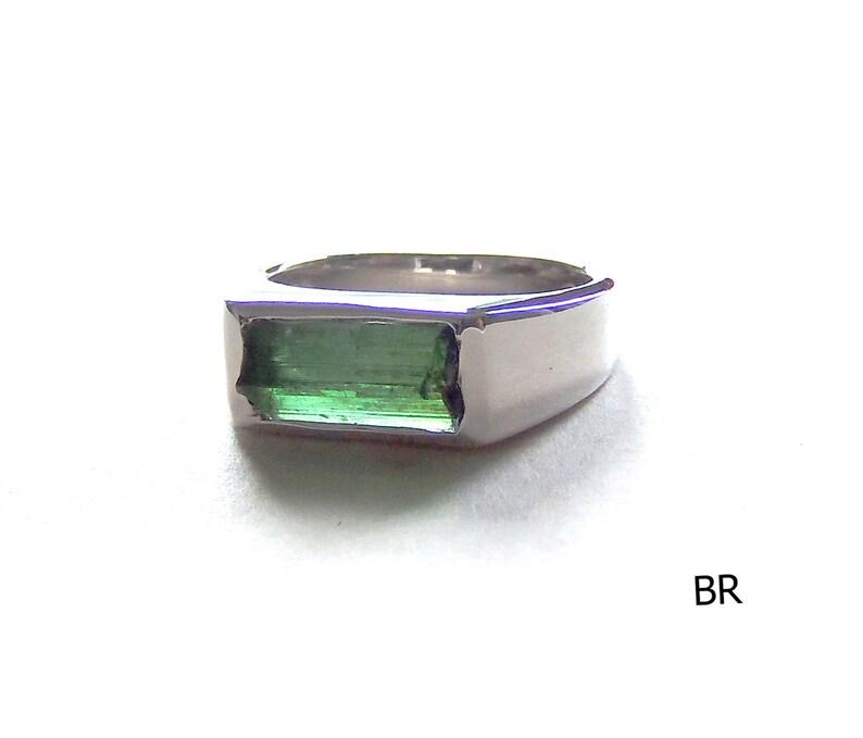 Rough Blue green Crystal tourmaline ring sterling silver 925 ring natural Specimen crystal rough gemstone size US 7 U 55, 15, O