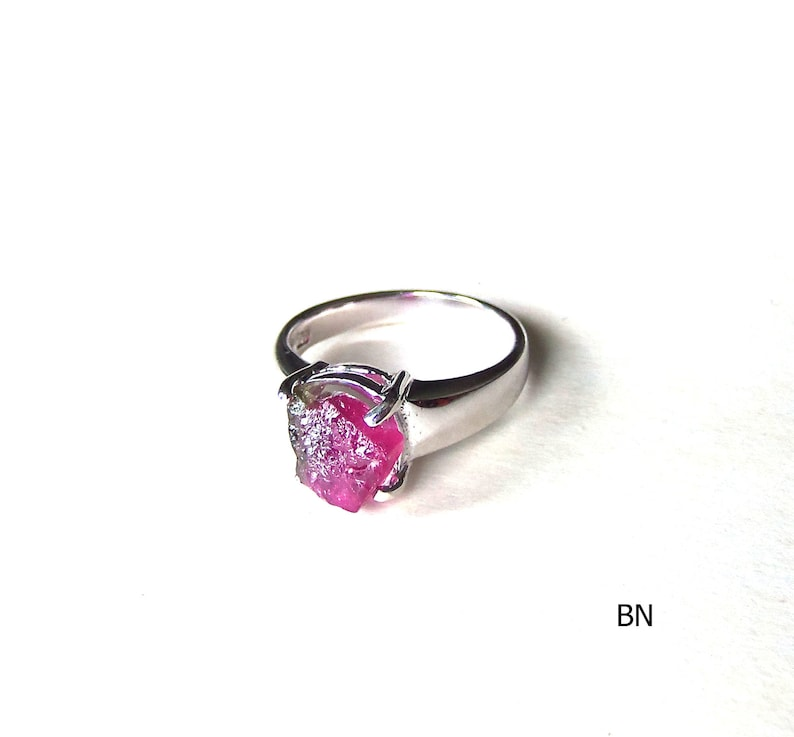 Raw watermelon tourmaline ring sterling silver 925 prong ring natural slice  crystal rough rubelite gemstone size US 8, READY to ship
