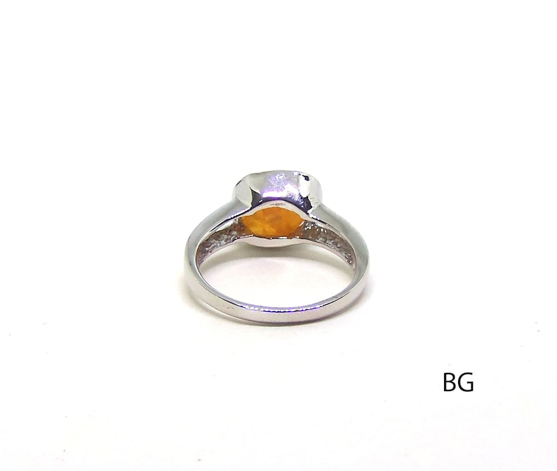 Natural stone sterling silver 925 Natural Rough Orange Spessartite Crystalring size 8 Raw Spessartite Ring