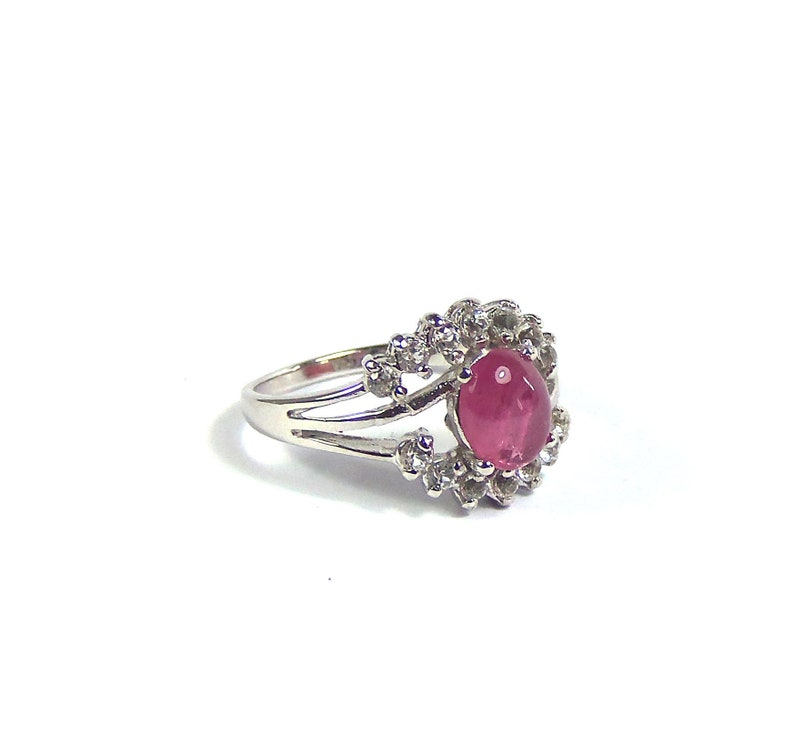 Rubellite Tourmaline ring size US 8 sterling silver 925 Natural crystal  Oval polished and Unheated gemstone rubelite