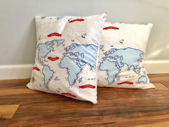 16x16 world map pillow etsy image 0 gumiabroncs Choice Image