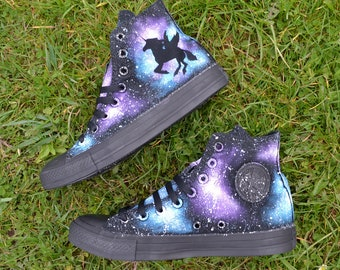 Unicorn Galaxy Converse, Unicorn Converse, Custom Converse, Painted Converse, Galaxy Converse, Unicorn Shoes, Winged Unicorn, Dark Unicorn