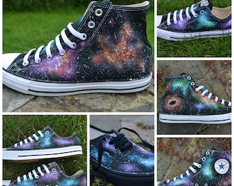 Your own CUSTOM COLOURS & STYLE, Galaxy Converse, Custom Converse, Nebula Converse, Painted Converse, Galaxy Sneakers, Galaxy Trainers