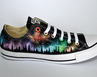 Rainbow Converse, Northern Lights, Galaxy Converse, Silhouette Converse, Custom Converse, Painted Sneakers, Nebula Shoes, Galaxy Fashion