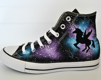 Unicorn Converse, White Soles, Custom Converse, Painted Converse, Galaxy Converse, Unicorn Shoes, Winged Unicorn, Dark Unicorn