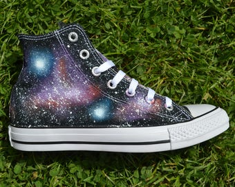 Space Sneakers, Galaxy Converse, Nebula Converse, Painted Converse, Galaxy Shoes, Hi Tops, Custom Trainers, Custom Sneakers, Unique Gift