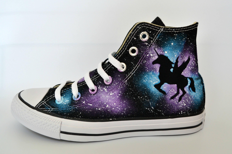 Unicorn Converse, White Soles, Custom Converse, Painted Converse, Galaxy Converse, Unicorn Shoes, Winged Unicorn, Dark Unicorn