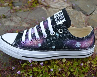 Snowflake Galaxy Low Tops, Frozen Shoes, Galaxy Converse, Snowflake Shoes, Snowflake Sneakers, Nebula Converse, Milky Way, Custom Sneakers