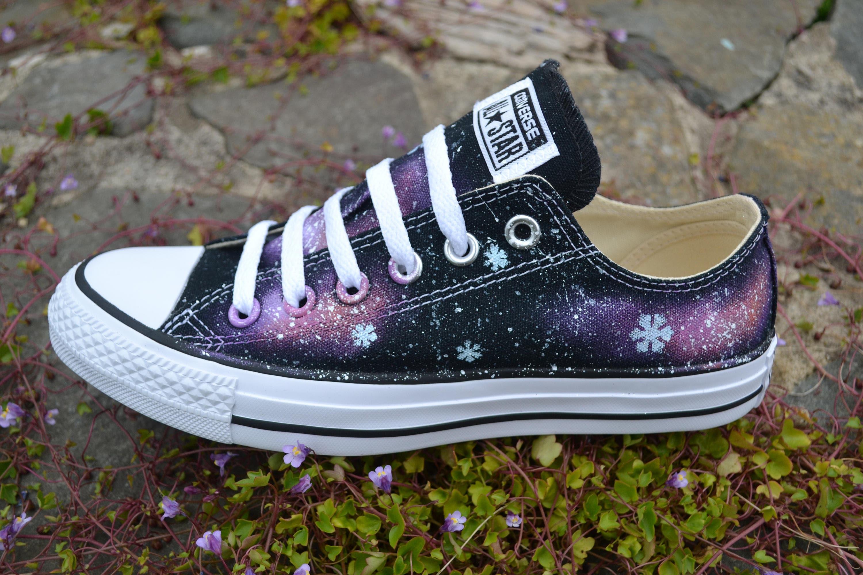 aca676804292e Snowflake Galaxy Low Tops, Frozen Shoes, Galaxy Converse, Snowflake Shoes,  Snowflake Sneakers, Nebula Converse, Milky Way, Custom Sneakers
