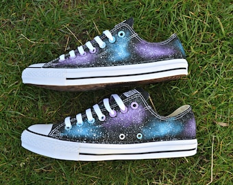Galaxy Converse, Galaxy Shoes, Low Tops, Custom Converse, Nebula Converse, Painted Converse, Galaxy Sneakers, Galaxy Trainers, Chuck Taylors