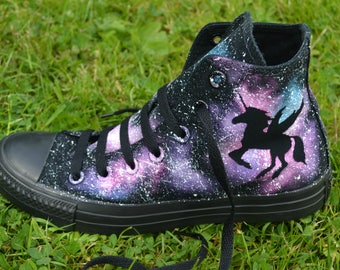 Pink Unicorn Converse, Unicorn Converse, Pink Galaxy, Custom Converse, Painted Converse, Galaxy Converse, Unicorn Shoes, Purple Unicorn