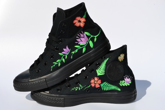 56d51576a3ae Floral Converse Floral Sneakers Wedding Shoes Prom Shoes