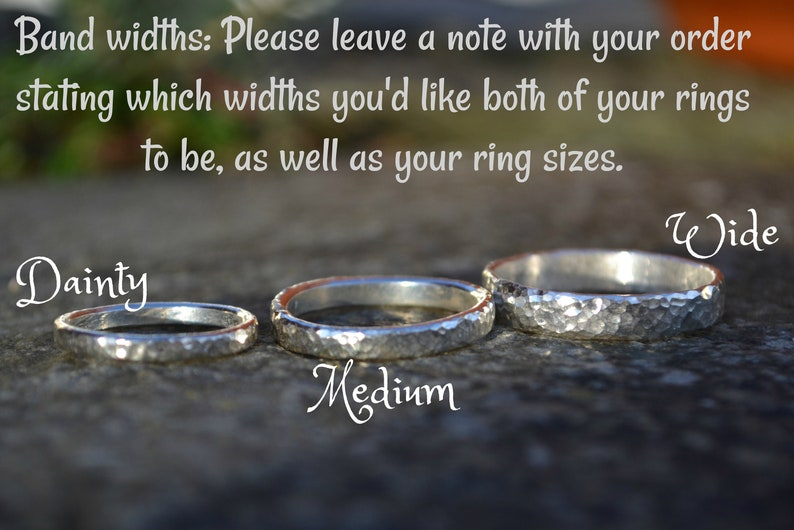 Couple Rings Hammered Wedding Bands Unusual Wedding Textured Rings Wedding Rings Set Silver Rings His and Hers Rings Quirky Wedding