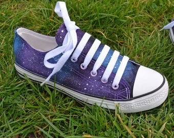 Galaxy Low Tops, NOT branded Converse, Galaxy Sneakers, Galaxy Trainers, Custom Converse, Galaxy Plimsolls, Galaxy Converse, Quirky shoes