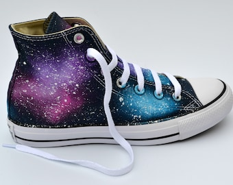 Pink Galaxy Converse, Purple and Pink, Astronomy Lover, Galaxy Hi Tops, Galaxy Sneakers, Galaxy Trainers, Wedding Shoes, Painted Converse