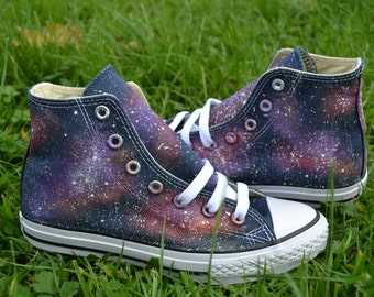 Galaxy Converse, Galaxy Hi Tops, Custom Converse, Fall Converse, Painted Converse, Galaxy Sneakers, Galaxy Trainers, Galaxy Shoes, Space