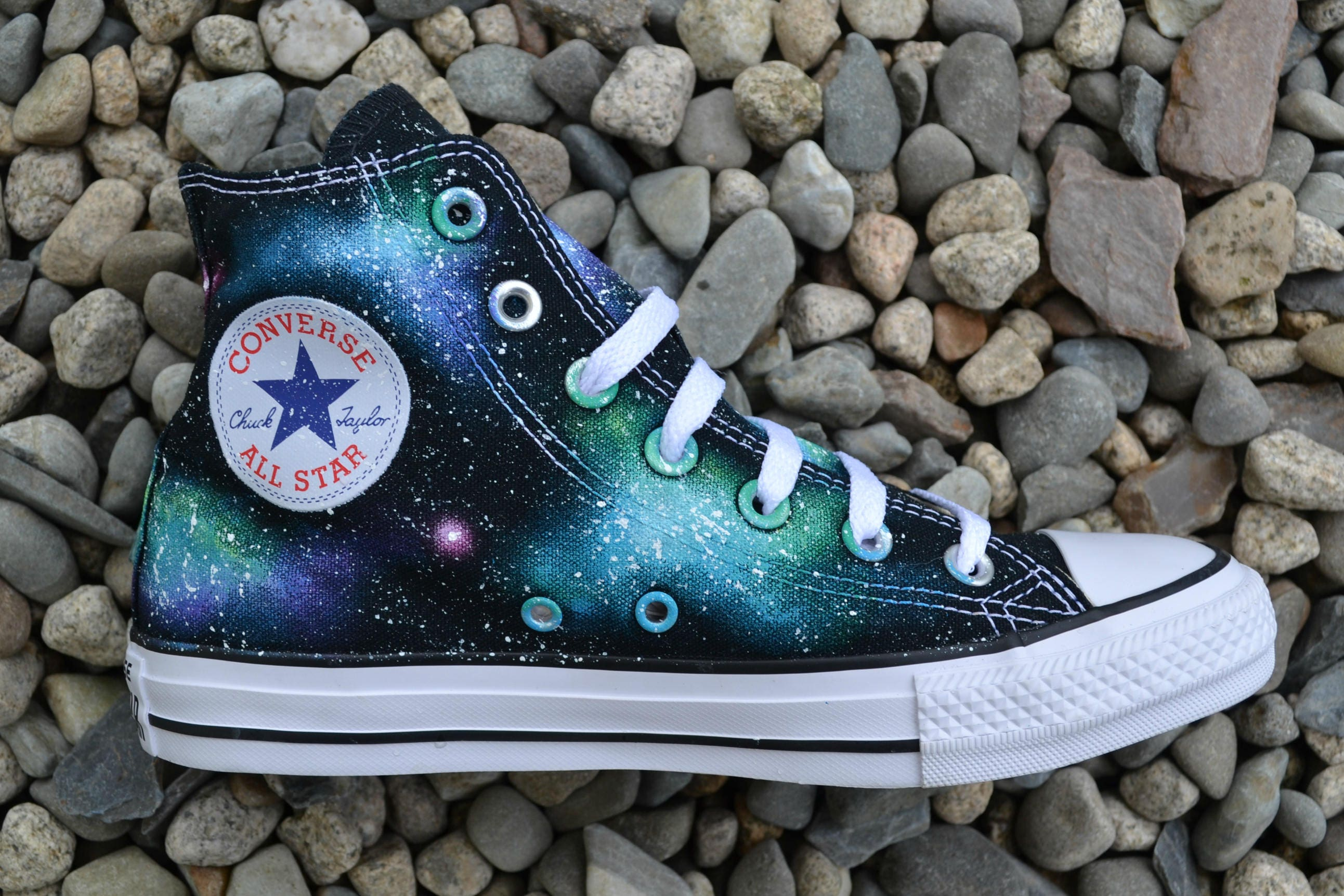 Blue Galaxy Sneakers, Galaxy Converse, Space Sneakers, Nebula Converse, Star Sign Shoes, Wedding Shoes, Pretty Sneakers, Stars