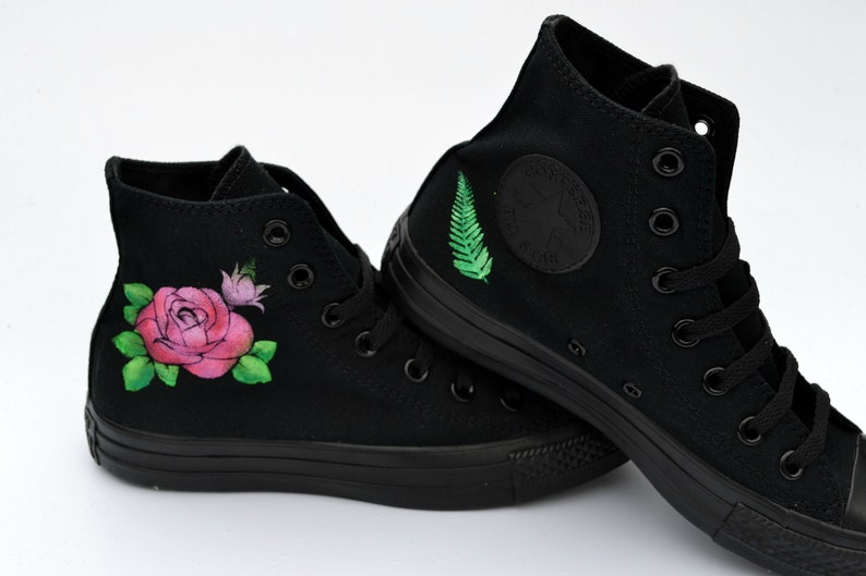 7bcd32887227 Floral Converse Rose Hi Tops Floral Sneakers Hand Painted