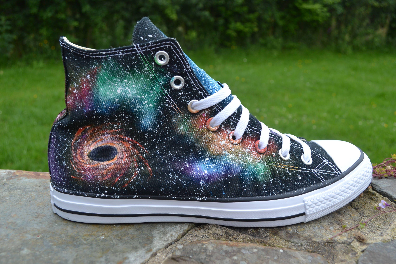b4d8749a4333a Galaxy Converse, Rainbow Converse, Black Hole, Nebula Sneakers, Galaxy Hi  Tops, Galaxy Customs, Painted Converse, Custom Sneakers