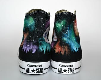 Northern Lights Converse, Galaxy Converse, Treeline Converse, Nebula Print, Custom Converse, Painted Sneakers, Nebula Shoes, Galaxy Fashion