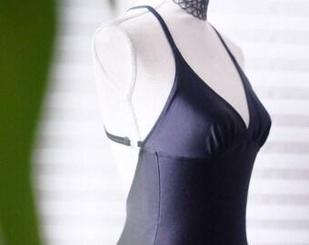 ff6e000d71b Vintage Black Swimsuit One Piece Classic Style Open Back Bathing Suit Criss  Cross Classic Straps Size L Bodysuit Summer Playsuit Full Bottom