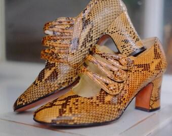 Halston Lizard effect Leather Pumps Gold Damen Schuhe