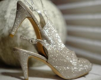 0c718561c1a1 Vintage Silver Champagne High Heels Glitter Open Peep Toe Platform Pumps  Strap Slingback Shinny Rare Glamour Shoes Size UK6/8US /39 EU Party