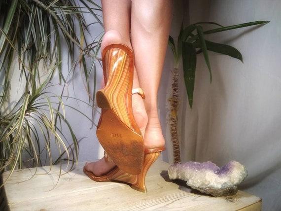 EU Authentic Beaded Heels Vintage UK Multicolor Shoes Wedge Flops Flip High 8US Size 70s Wedges Boho 6 39 Hippie Slingback Sandals Sexy UdxwqSFfx