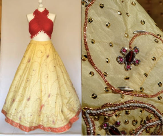 Crafted Decorated Wedding Bell Maxi Red Ball Embroidered Lehenga Skirt Jewelled India Beaded Full Hand Yellow Vintage Circle Silk Richly UxRwqvv8