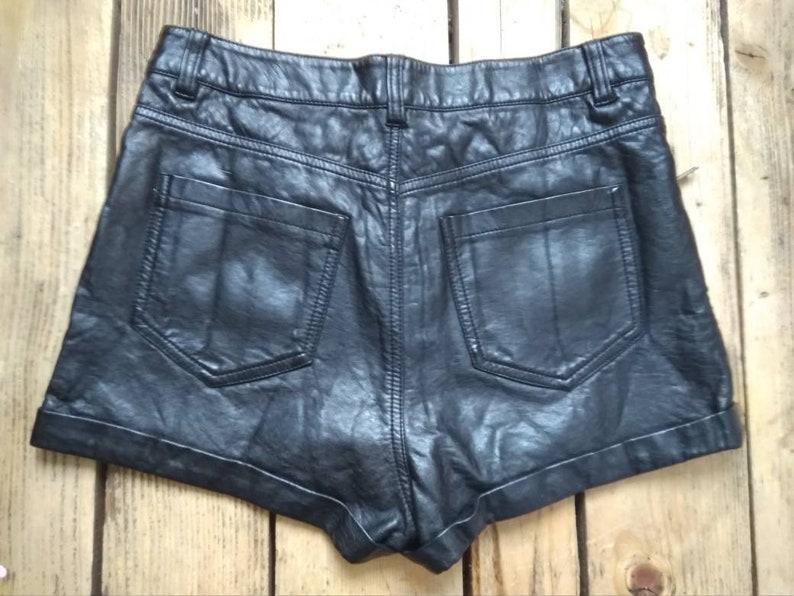 Vintage 90s Faux Leather Shorts High Waist Size S  M Black Short Pants Rocker Disco Party Goth Grunge Festival Summer Bohemian Hippie
