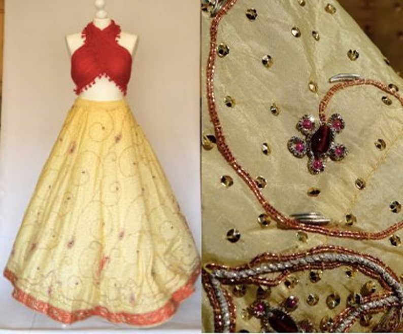 Vintage Maxi Big Skirt Beaded Banjara Yellow Red Glitter India Long Wedding Rich Extra Decorated Embroidered Jeweled Full Circle Bell Ball