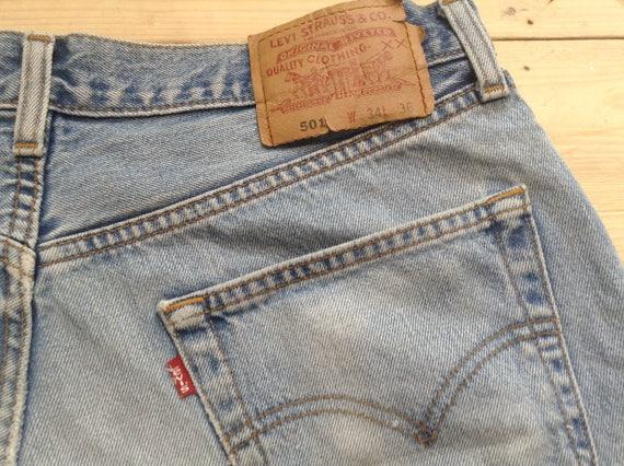 Denim Waist Blue Button Distressed Fly Big Skirt W34 501 Mini Vintage Levi 80s Hem Fray E Jeans Short Original Jeans L36 Strauss High ripped Pqx68xHFw