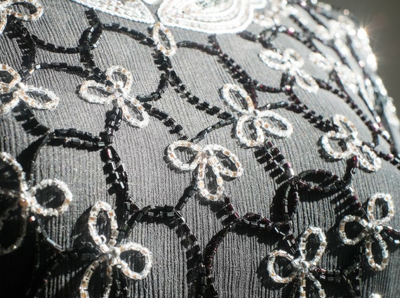 Sleeve Beaded SIZE Top Silk Embroidered Glamour M Designs Pure Vintage Jasjas Short Black Blouse Sequins Cocktail Evening White qxan75