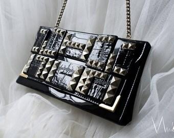 Vintage Recycle Black Clutch Silver Studs Unique Formal Handbag Patent Fancy Shoulder Bag Long Silver Tone Chain Glam Rock Party Evening